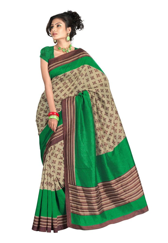 Fabdeal Green and Cream Bhagalpuri Chex Printed Saree with Brown Border