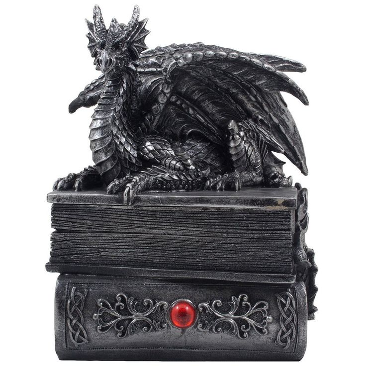 Mythical Guardian Dragon Trinket Box Statue with Hidden Book Storage Compartment for Decorative Gothic & Medieval Home Decor