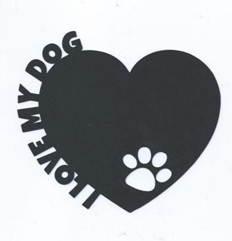 I love my dog heart with paw print silhouette by hilemanhouse