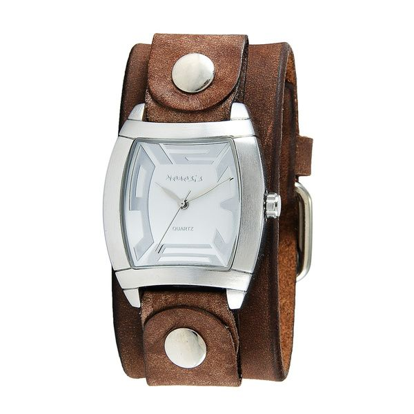 Nemesis Women's Rugged Watch with Brown Leather Cuff Band - Overstock™ Shopping - The Best Prices on Nemesis Nemesis Women's Watches
