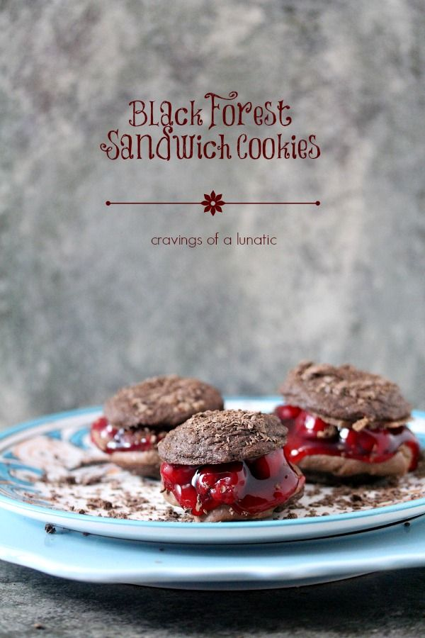 Black Forest Sandwich Cookies -- seriously scrumptious chocolate cookies filled with chocolate frosting and cherries