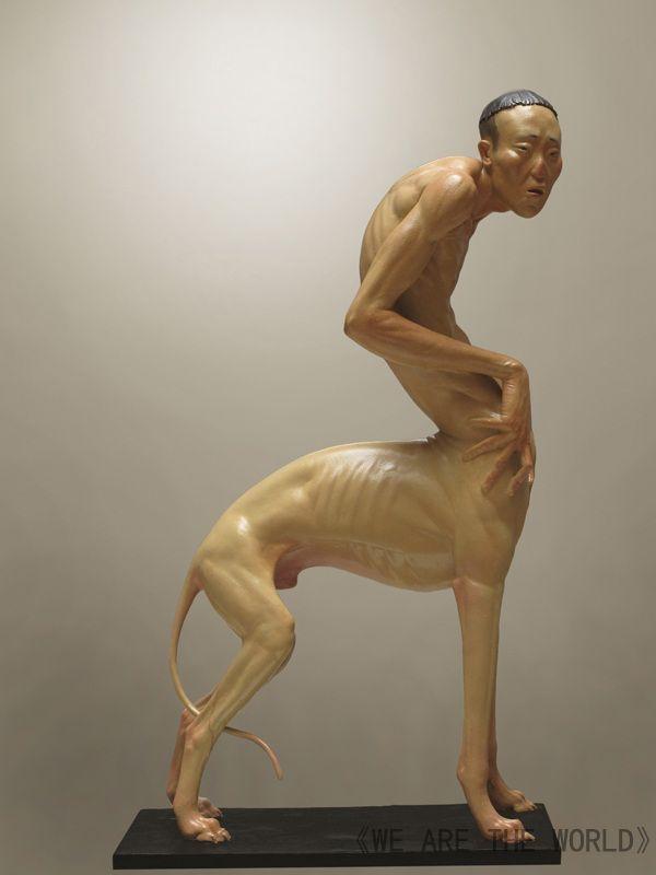 Liu Xue animal human sclupture hybrid skinny dog man