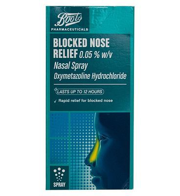#Boots Pharmaceuticals Boots Blocked Nose Relief Nasal Spray - 22 ml #12 Advantage card points. Provides rapid relief for blocked nose. Lasts up to 12 hours. Suitable for: Adults and children of 12 years and overActive ingredients: Oxymetazoline Hydrochloride See details below, always read the label. FREE Delivery on orders over 45 GBP. (Barcode EAN=5045093007319)