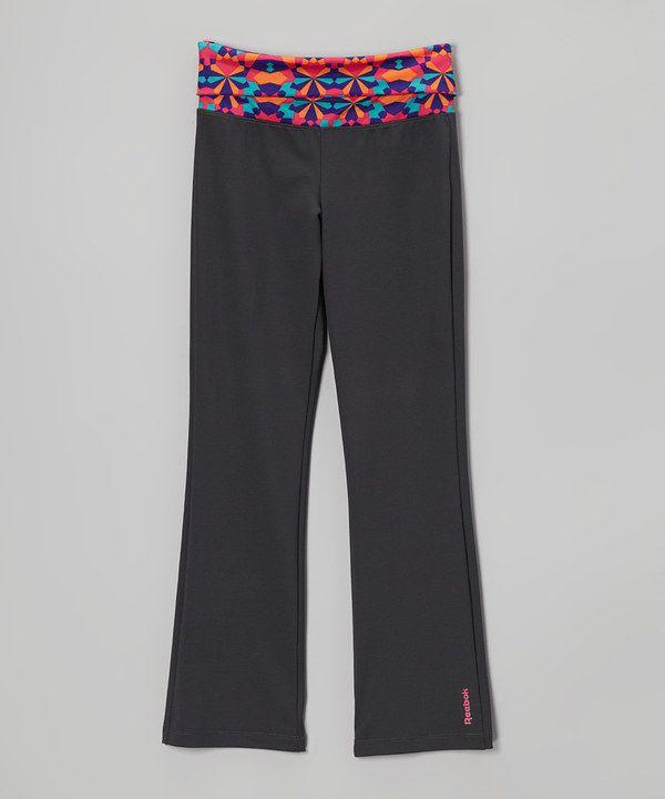 Reebok Soft Black Kaleidoscope Fold-Over Yoga Pants - Girls by Reebok #zulily #zulilyfinds