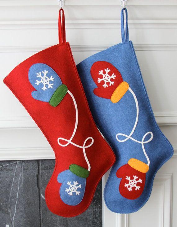 Calza di Natale feltro di lana fatti a mano: Festeggia con un Mittens calza alle feste!