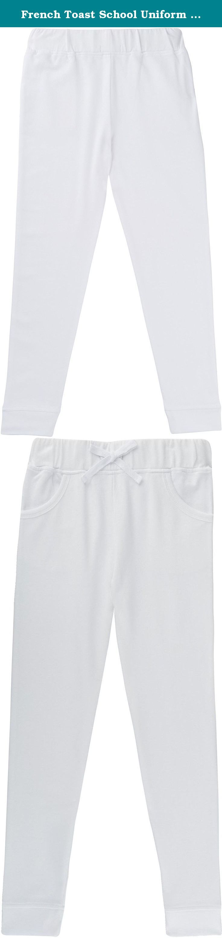 French Toast School Uniform Girls French Terry Jogger Pants, White, 6X. 60% Cotton, 40% Polyester. . Machine Wash. Cotton blend French terry. Elastic waistband with mock bow drawstring. Rib finish on cuffs and pockets.