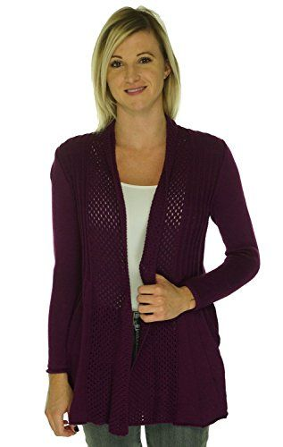 NY Collection Long Sleeve Pointelle Cardigan Dark Purple Large
