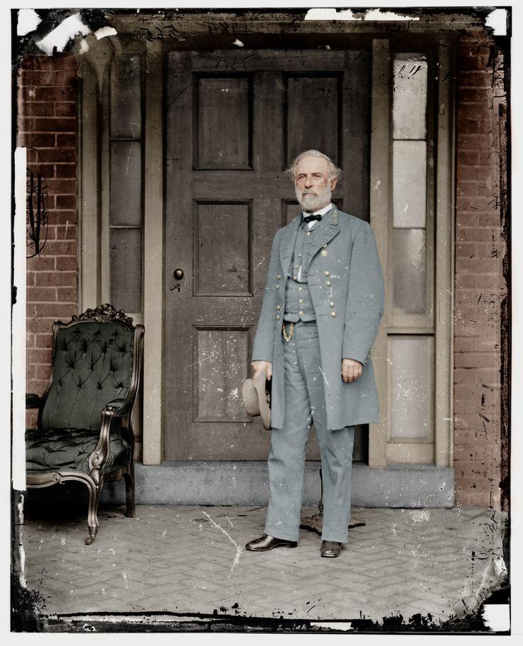 Robert E. Lee, a week after surrendering to Ulysses S. Grant, standing outside Arlington.