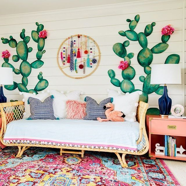 Boho chic, anyone?! This design is super gorgeous and fun for a playroom or southwestern-inspired nursery.  @JandJDesignGroup (diy painting cactus)