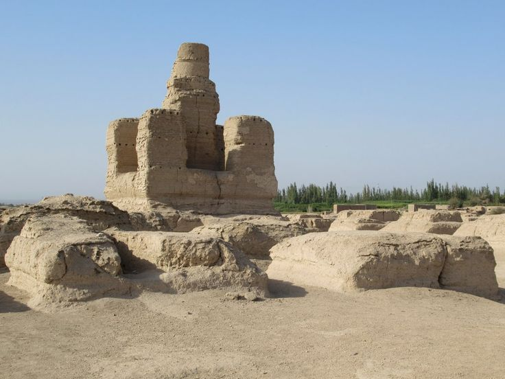 The 5th century Vajrasana Pagoda surrounded by a forest of 100 smaller pagodas stands at the northwest end of the ancient city of Jiaohe west of Turpan, Xinjiang, China.