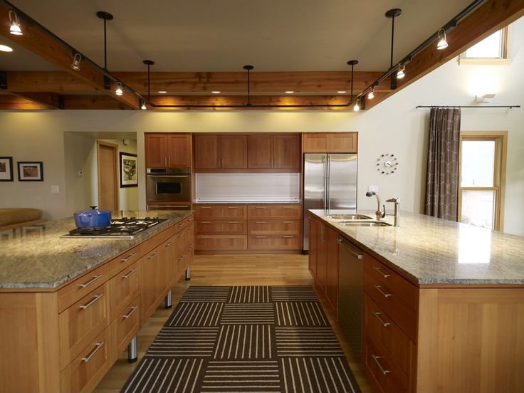 Craftsman Kitchen with Standard height, Exposed beam, U-shaped, Rug, Hardwood floors, Complex granite counters, Flush, Paint