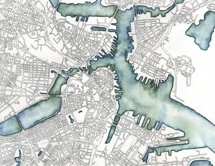 """Boston, MA: Emily Garfield's art is a pen-and-watercolour exercise in the cartography of imaginary places. Her drawings """"are inspired by the visual language of maps, as well as the fractal similarity that cities share with biological processes such as the patterns of cells and neurons."""""""