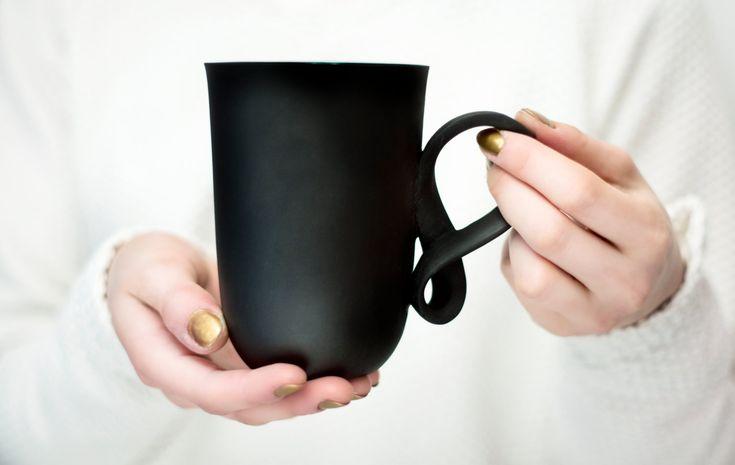 Porcelain big mug MOBIUS mug black porcelain china cup handmade by ENDE by ENDEsign on Etsy