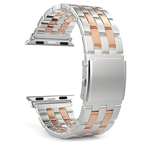 cool Apple Watch Band Series 1 Series 2, MoKo Stainless Steel Metal Replacement Smart Watch Band Bracelet with Double Button Folding Clasp for 42mm iWatch All Models, SILVER & Rose GOLD (Not Fit 38mm 2016)
