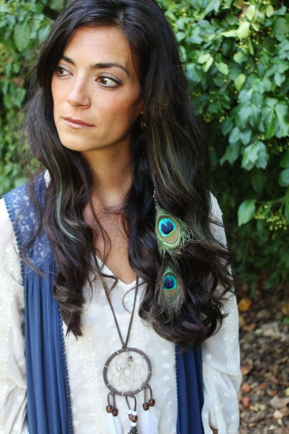 Double Peacock Feather Clip-In Hair Extension Weft Clip - Peacock Boho Wedding Hair Accessories