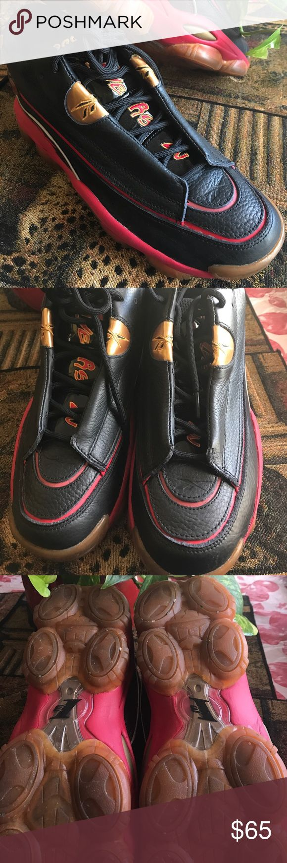 The Answer DMX 10 Reebok Collection The Allen Iverson Signature black /red/gold shoe, leather upper, rubber outsole , padded collar and tongue.  In great condition (they are small for my Son) Reebok Shoes Athletic Shoes