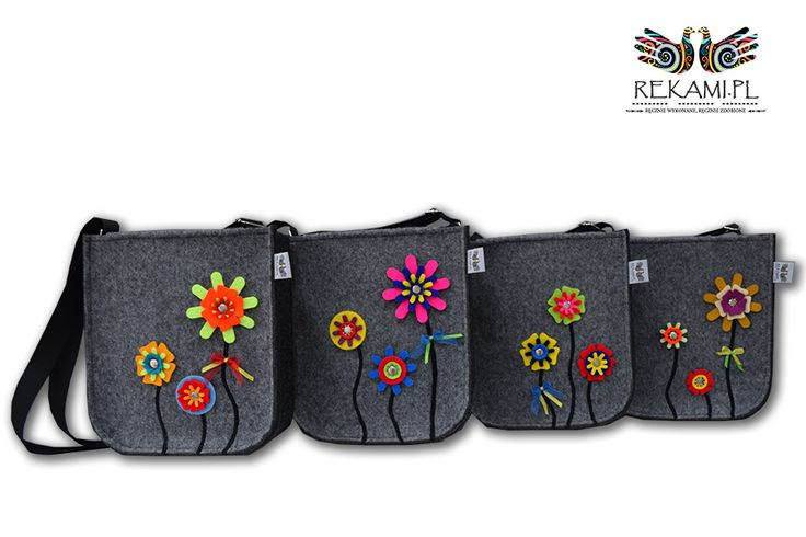 Kolorowe torebki filcowe na Dzień Dziecka. Różne wzory i kolory. Lekkie i poręczne. Wesołe, nasycone barwy ożywią każdy dzień Twojego dziecka