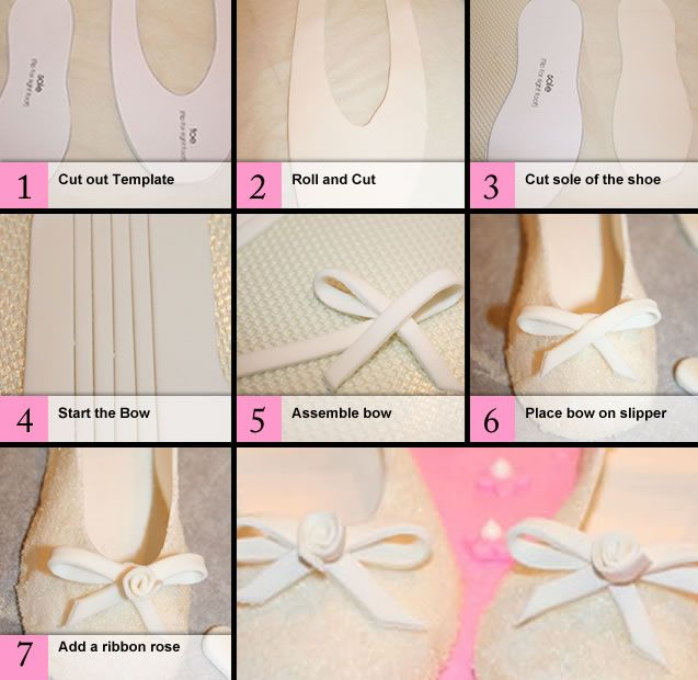 how to make ballet slippers out of fondant or gumpaste