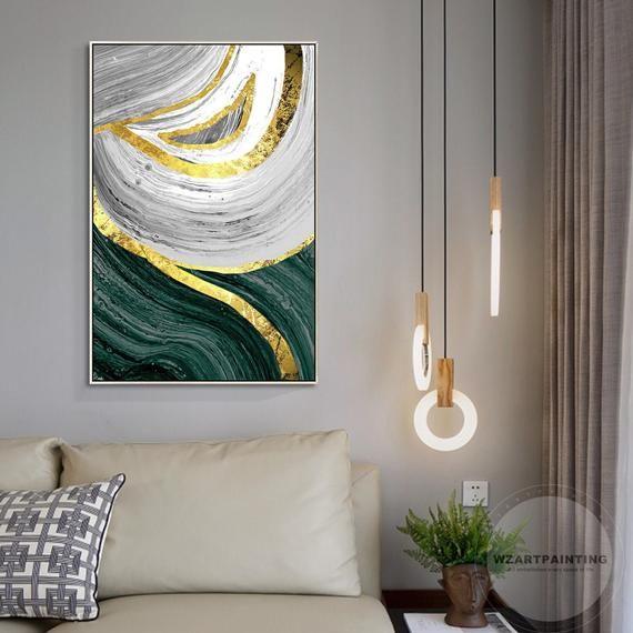 Framed Wall Art Modern Abstract Gold Dark Green Print Painting