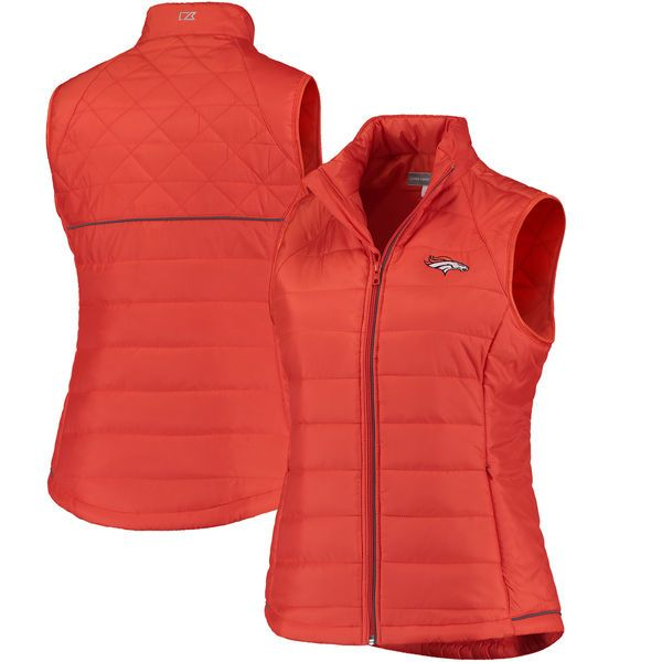 Denver Broncos Cutter & Buck Women's Post Alley Full-Zip Puffer Vest - Orange - $82.99