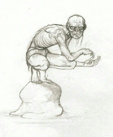 Gollum, artist unknown. Very much how I imagined him.