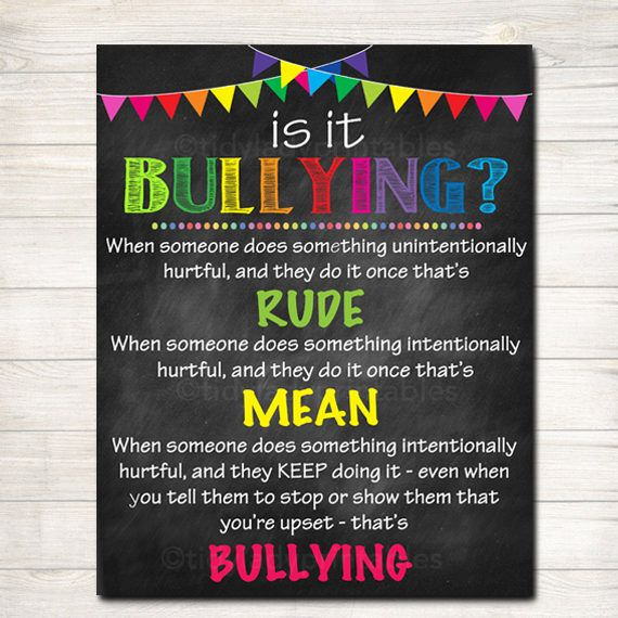 Anti Bully Poster Classroom Decor Counselor Office Decor