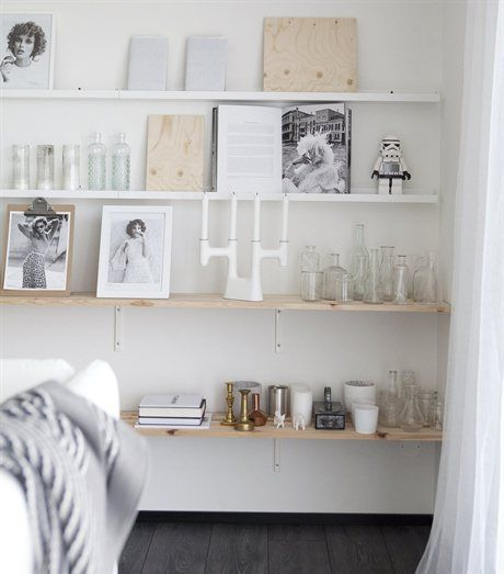 Mix of ribba picture ledges with deep wooden shelves looks for Ikea ribba plank