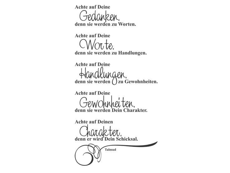 Zitat Talmud Wandtattoo - Zitat Achte auf... von Wandtattoos.de