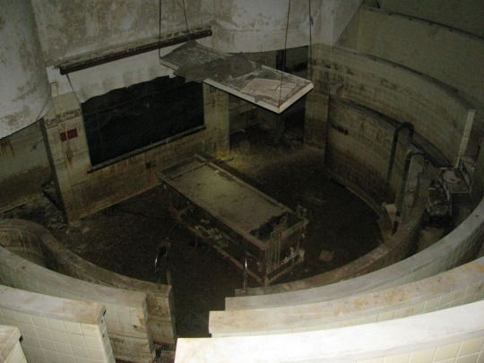 The autopsy theater near the morgue in the basement of New Orleans Charity Hospital.