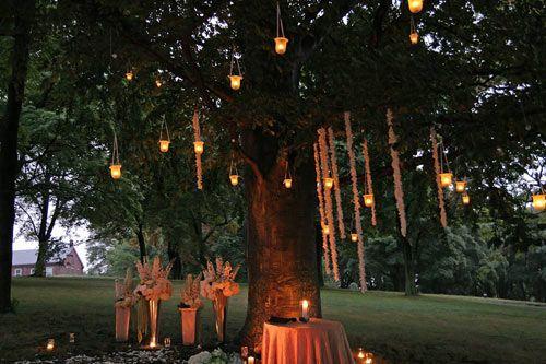 Candle Lit, Christmas Lights, And Lantern Wedding (candle