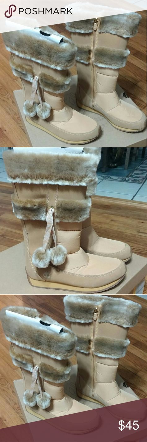 Timberland Junior's Winter Tall Boots Tan colored, with fur Timberland Shoes Boots