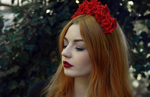 Red Rose Flower Crown Red  Rose Headband Red by Stephanieverafter