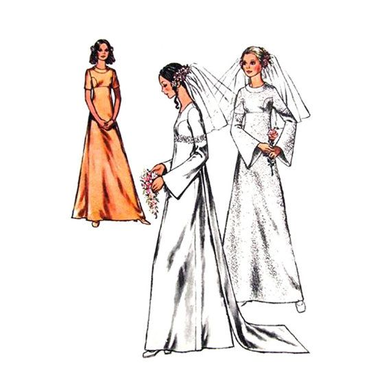 Vintage Wedding Dress Pattern Style 3123 Empire Dress Flared Sleeve Train Bridesmaid Dress Womens Sewing Pattern Bust 34