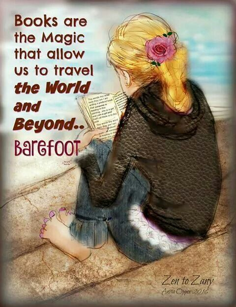 Books are the magic that allow us to travel the world and beyond... barefoot. (art by Anita Opper, 2016)