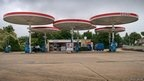 Today's petrol stations are, much like the cars on the road, seemingly all the same, yet that was not always the case. This Eliot-Noyes designed Mobil Pegasus canopies station on the A6 at Leicester is perhaps the last example of its kind, and seen here in Esso branding following their takeover of Mobil.