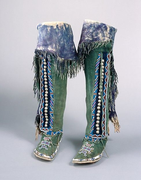Woman's Boots Date: ca. 1870 Geography: United States, Oklahoma or Texas Culture: Comanche Medium: Native-tanned leather, rawhide, glass beads, German-silver buttons, pigment