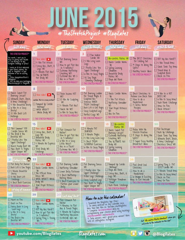Calendar Monthly Meaning : Ilates june workout calender ☼ w o r k
