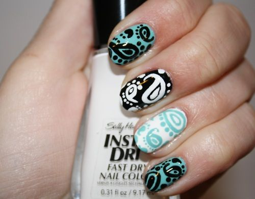 loveNails Art Tutorials, Nails Design, Black And White, Paisley Perfect, Makeup, Beautiful, Paisley Prints, Paisley Nails, Hair