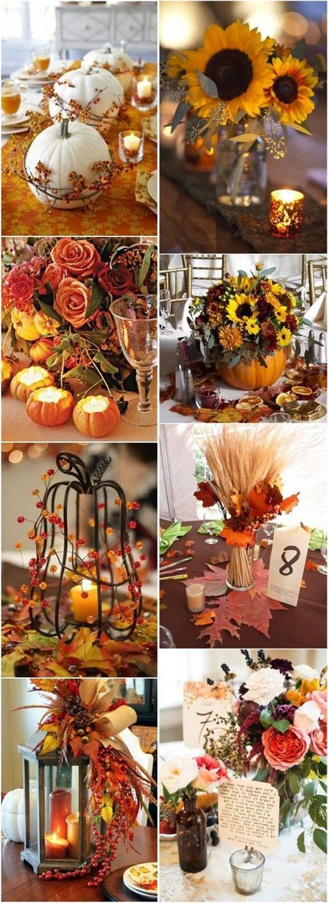 fall wedding decor ideas-autumn fall wedding centerpieces  Make your own diy fall centerpieces with faux flowers and fall décor from afloral.com  http://www.afloral.com/Silk-Wedding-Flowers/Fall-Wedding-Flowers #fall