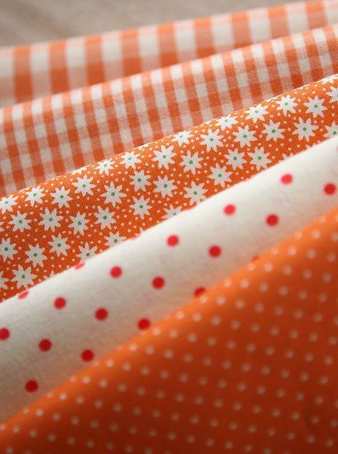 Vivid Orange Floral, dots, and check Cotton fat Quarter Set of