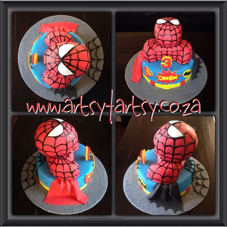 Spider-Man, Batman and Superman Cake #superherocake #spidermansupermanbatmancake