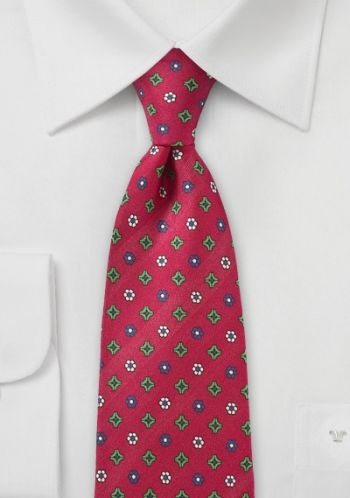 Cravate rouge cerise fleurs allover