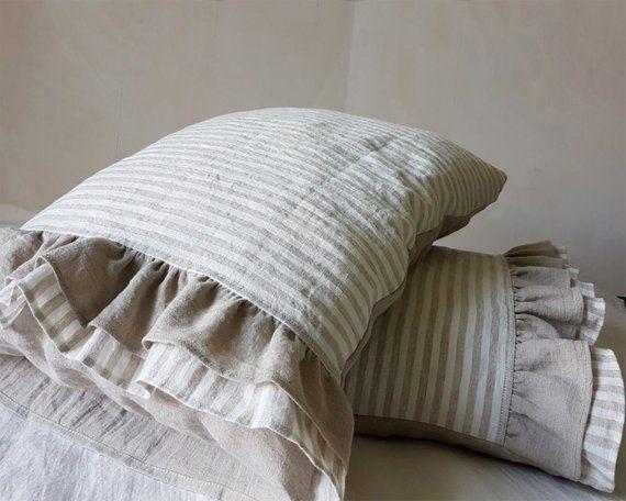 Ruffled Linen Pillowcase Ruffle Linen Pillow Sham Softened Etsy In 2020 Linen Pillow Cases Pillows Linen Pillows