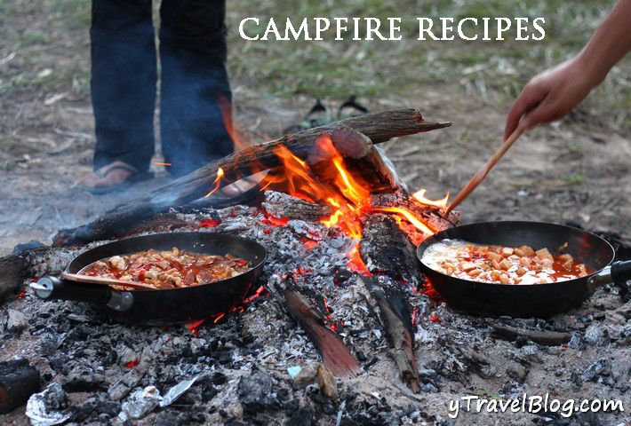 Includes campfire recipes for Spaghetti Arrabiata, Campfire Paella, Chocolate Bananas & Hot Whiskey.  So much yummy for the next festival camping trip!