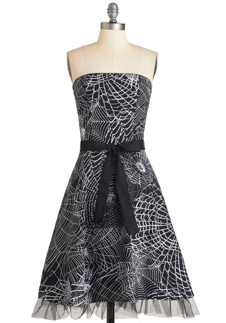 Spellbound To Astound Dress. When you throw a thrilling bash, youre sure to enchant each guest in this strapless black dress. #black #modcloth