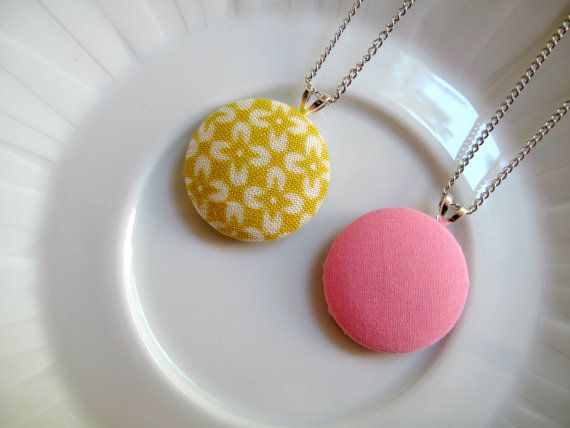 Best Fabric Button Necklace Images On Pinterest Button - Bright diy layered button necklace