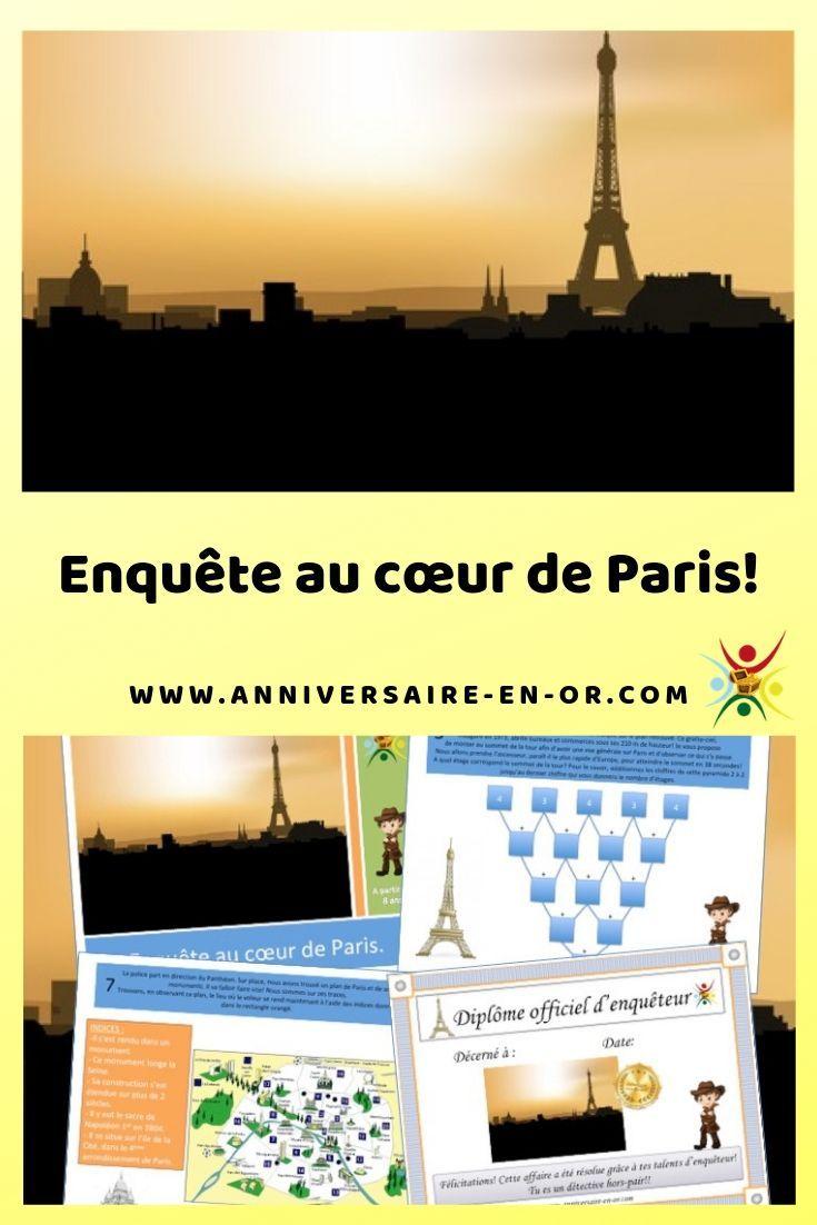 Enquete Au Cœur De Paris Kit De Jeu Complet A Imprimer Pour Animation D Anniversaire Enfant Chasse Au Tresor Chasse Au Tresor Enfant Jeux De Chasse