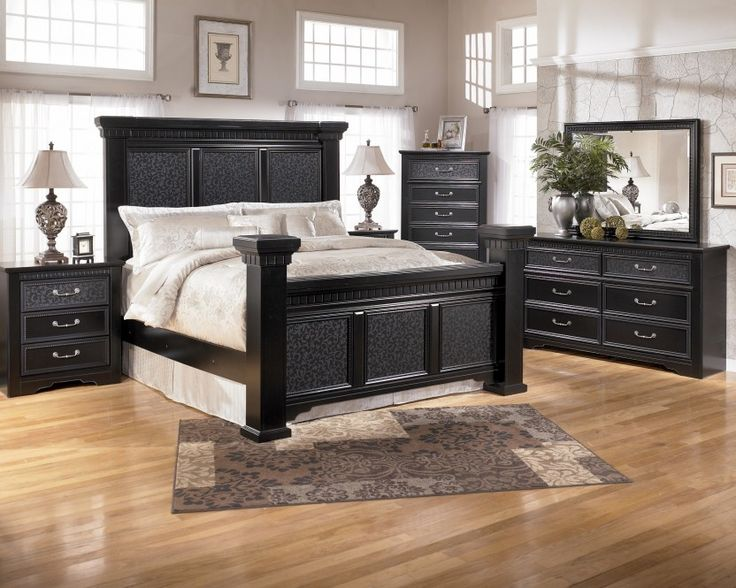 Chic Black Bedroom Furniture To Accompany Your Stylish Personality :  Magnificent Black Bedroom Furniture Floral Carpet
