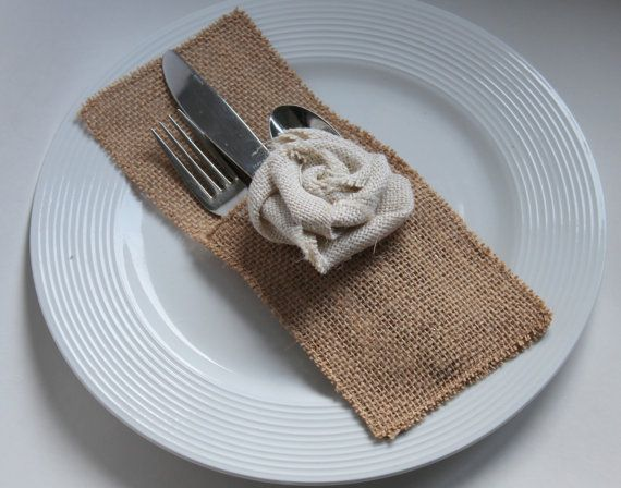 1 Natural Burlap Cutlery Pocket with ivory rosette - Perfect for a rustic wedding or dinner party!