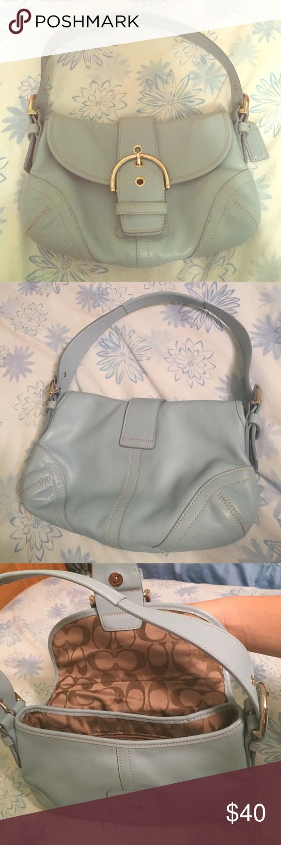 Baby blue leather coach shoulder bag Never used, all leather, authentic Coach Bags Shoulder Bags